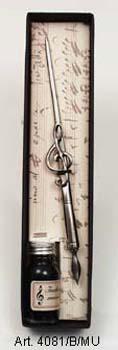 Violinkulcsos díszes mártogatós iron, tintával fekete díszdobozban