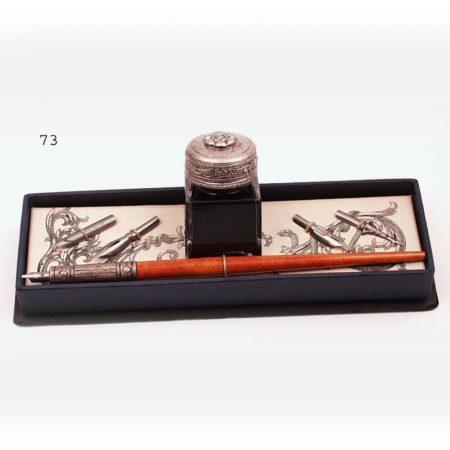 Díszes tollszár 4 tollheggyel, tintával, díszdobozban