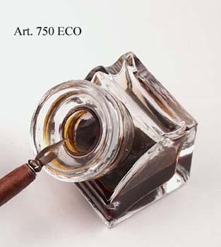 Üveg tintatartó négyszögalakú irontartóval (tinta nélkül)