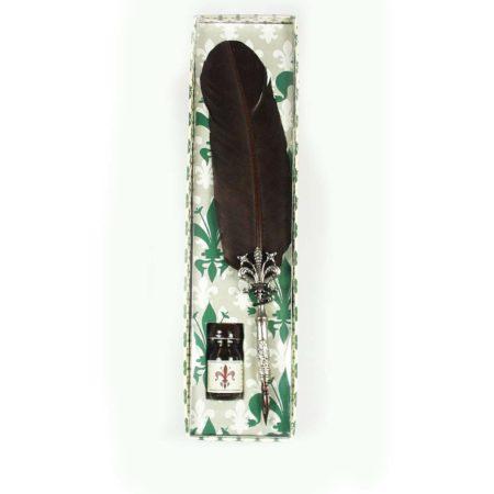 Díszes penna és tinta anjou liliomos díszdobozban különböző színösszeállításban