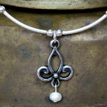Kis inda nyakék igazgyönggyel (ezüstözött) (N14) (ÚJ)