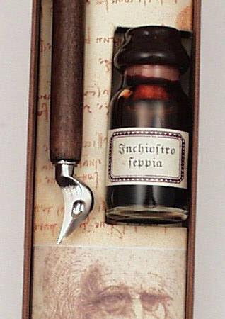Iron balkezeseknek tintával és mini itatóssal Leonardo da Vinci díszdobozban