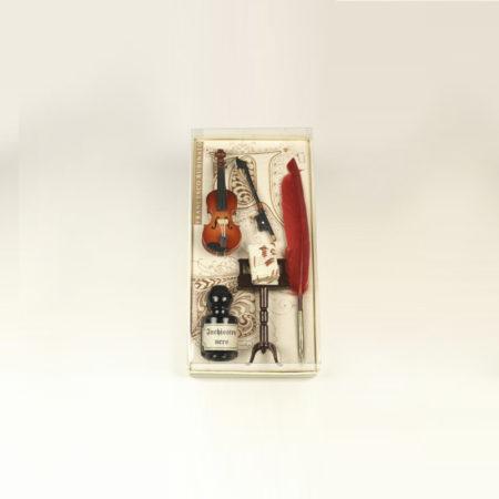 Kis zenei írószerkészlet 5 cl-s tintával, pennával és minikönyvvel díszdobozban