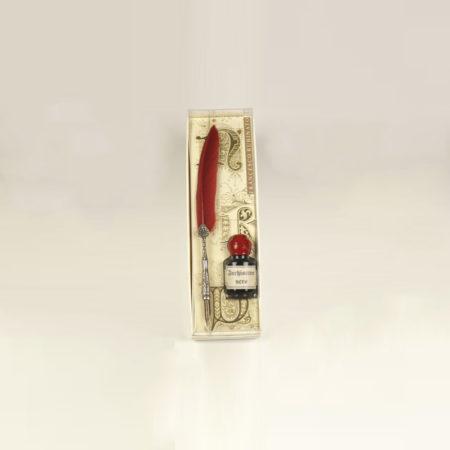 Kis írószerkészlet 5 cl tintával díszes tollszárú pennával díszcsomagolásban