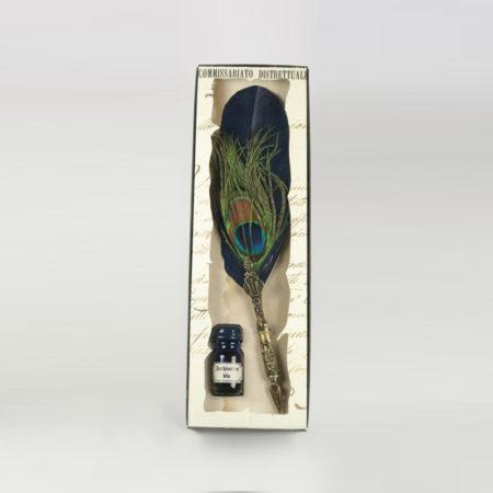 Díszes festett lúdtoll penna pávatollal díszes tollszárral díszcsomagolásban