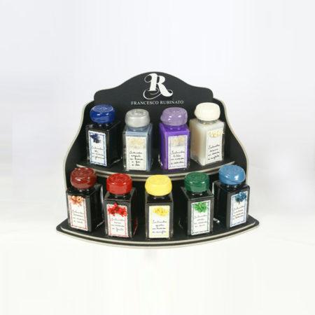 Illatosított tinta (50 ml) különböző színekben, szárazvirággal díszített üvegben (fekete dobozban)