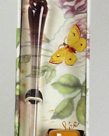 Különleges színű muránói üvegtoll díszdobozban