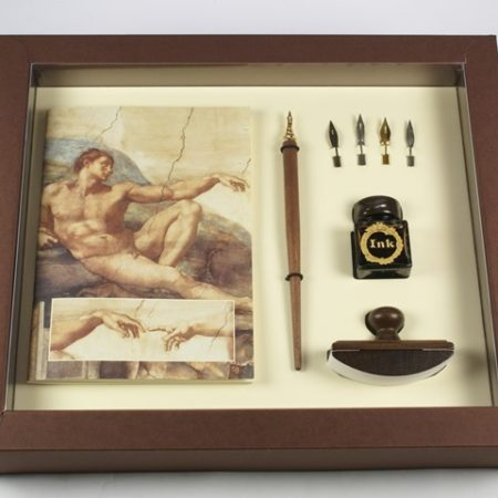 Michelangelo sorozat - Nagy írószerkészlet fa ironnal, tollhegyekkel, tintával és itatóssal díszdobozban