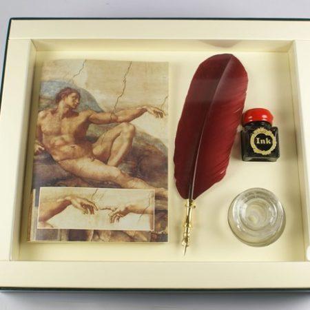 Michelangelo sorozat - Nagy írószerkészlet díszes pennával, tintával és tintatartóval