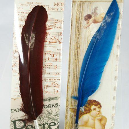 Díszes festett penna fém heggyel díszcsomagolásban