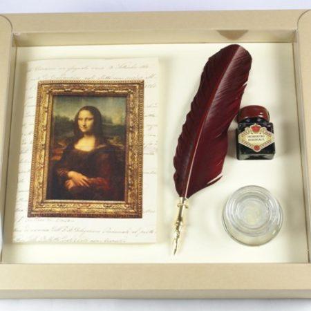 Leonardo sorozat - Nagy írószerkészlet díszes pennával, tintával és tintatartóval