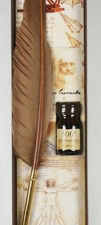 Írószer készlet Leonardo da Vinci díszdobozban (különböző színű penna tintával)