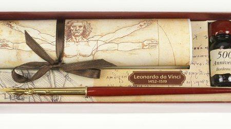 Írószer készlet Leonardo da Vinci díszdobozban (mártogatós iron tintával)