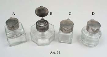 Üveg tintatartó ón kupakkal (különböző alakú)