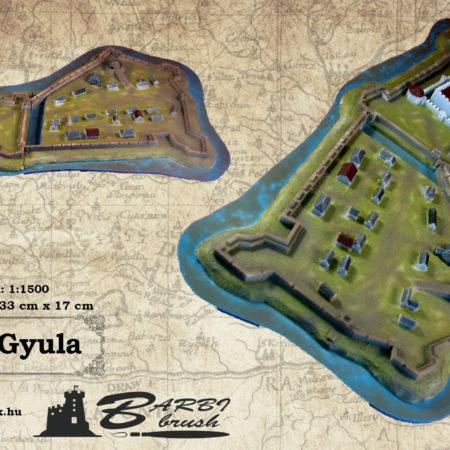 Gyula vármakett 1:1500 lépték; (33 cm x 17 cm)