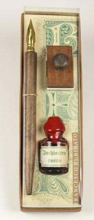 Kis írószerkészlet 5 ml tintával fa itatóssal díszcsomagolásban