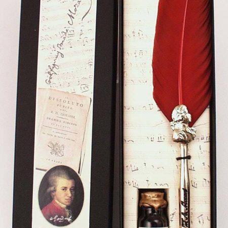 Díszes zenei írószerkészlet Mozart témájú díszdobozban